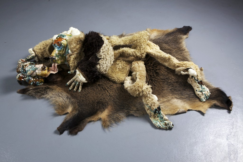 2012. Ceramics, lamb fur, wild pig fur, foam. Photos by Katharina Reckendorfer and Josef Schauer-Schmidinger.