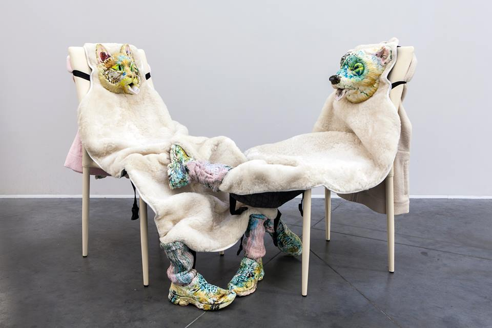 2016. Ceramics, fur, textile, metal, chairs