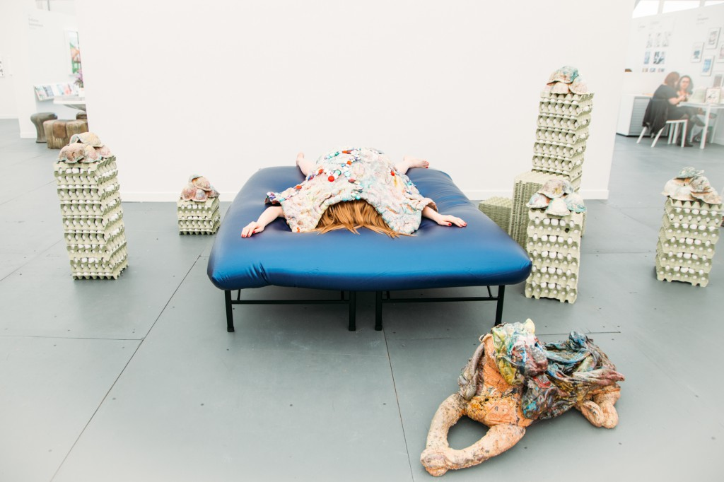 2015. Porcelain, eggs and egg crates, waterbed, metal, hair.
